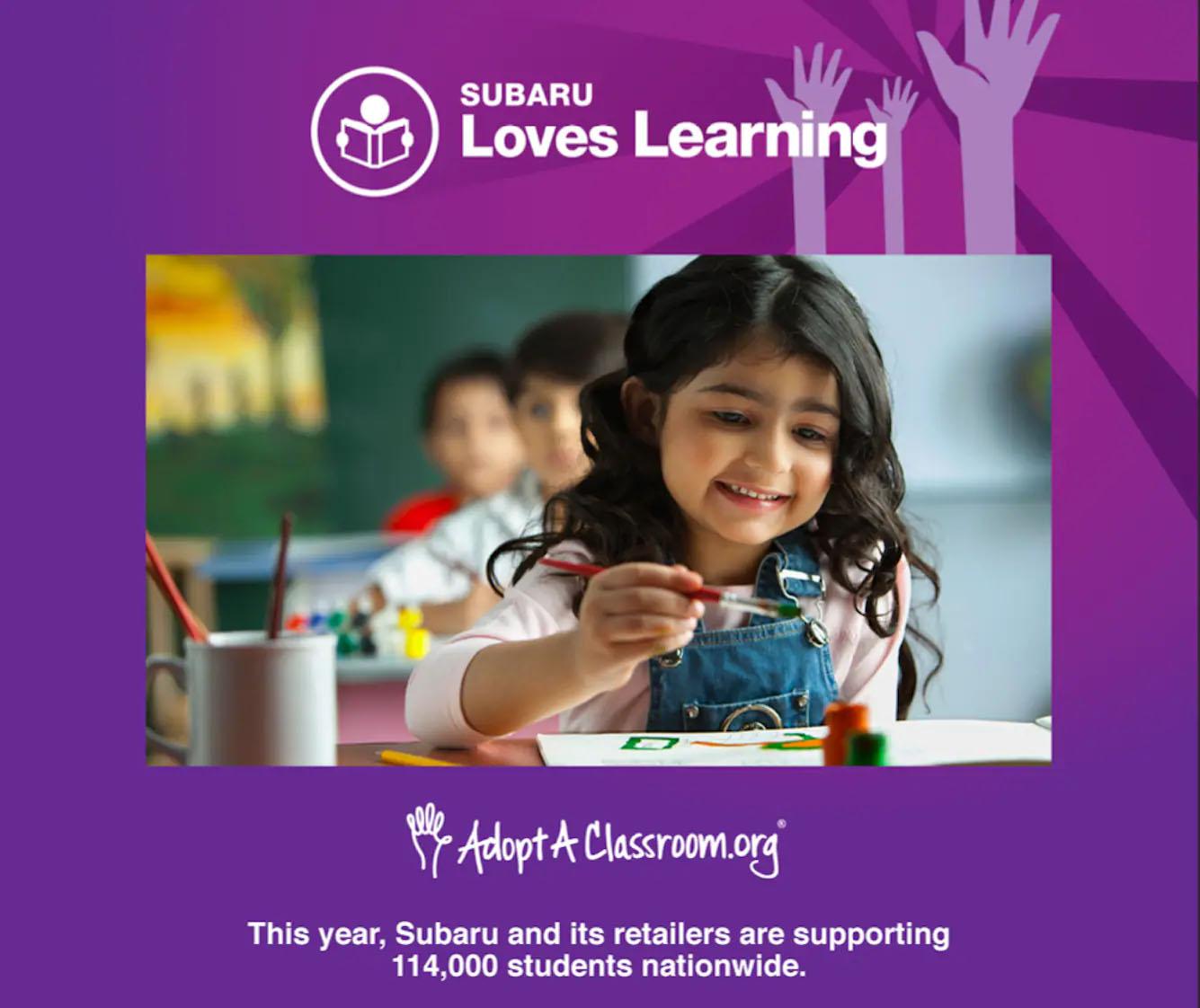 Subaru Loves Learning Adopt a Classroom